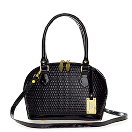 AURA Italian Made Black Patent Embossed Leather Small Structured Tote Handbag