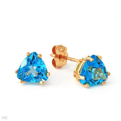 Genuine Light Blue 1.7Ctw Topaz 10K Yellow Gold Gemstone Stud Earrings