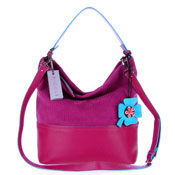 Nicoli Italian Made Fuchsia Suede Bucket Hobo Bag With Flower