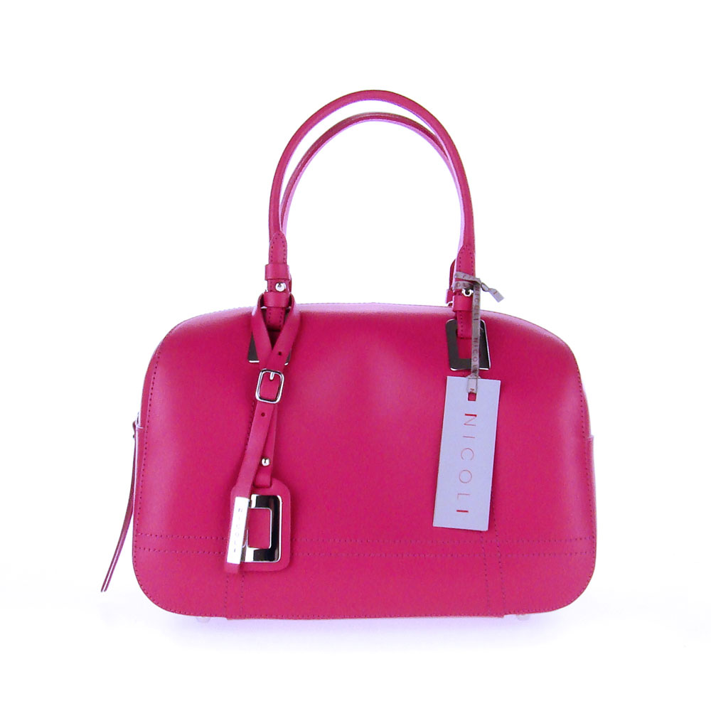 Nicoli Italian Made Fuchsia Calf Leather Structured Designer Ladylike Bowling Tote Bag