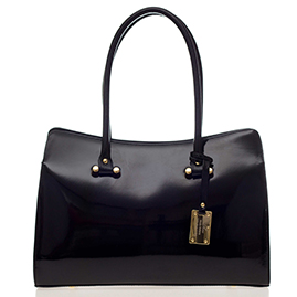 AURA Italian Made Black Patent Leather Large Carryall Tote