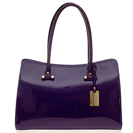 AURA Italian Made Purple Patent Leather Large Carryall Tote