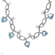 9.0Ctw White & Blue Heart Topaz 925 Sterling Silver 20