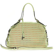 Pistachio Green Perforated Leather Carryall Handbag Made in Italy by Cromia