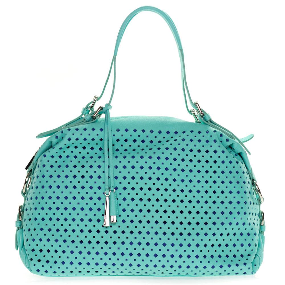 Cromia Italian Made Turquoise Blue Perforated Leather Carryall Satchel Handbag