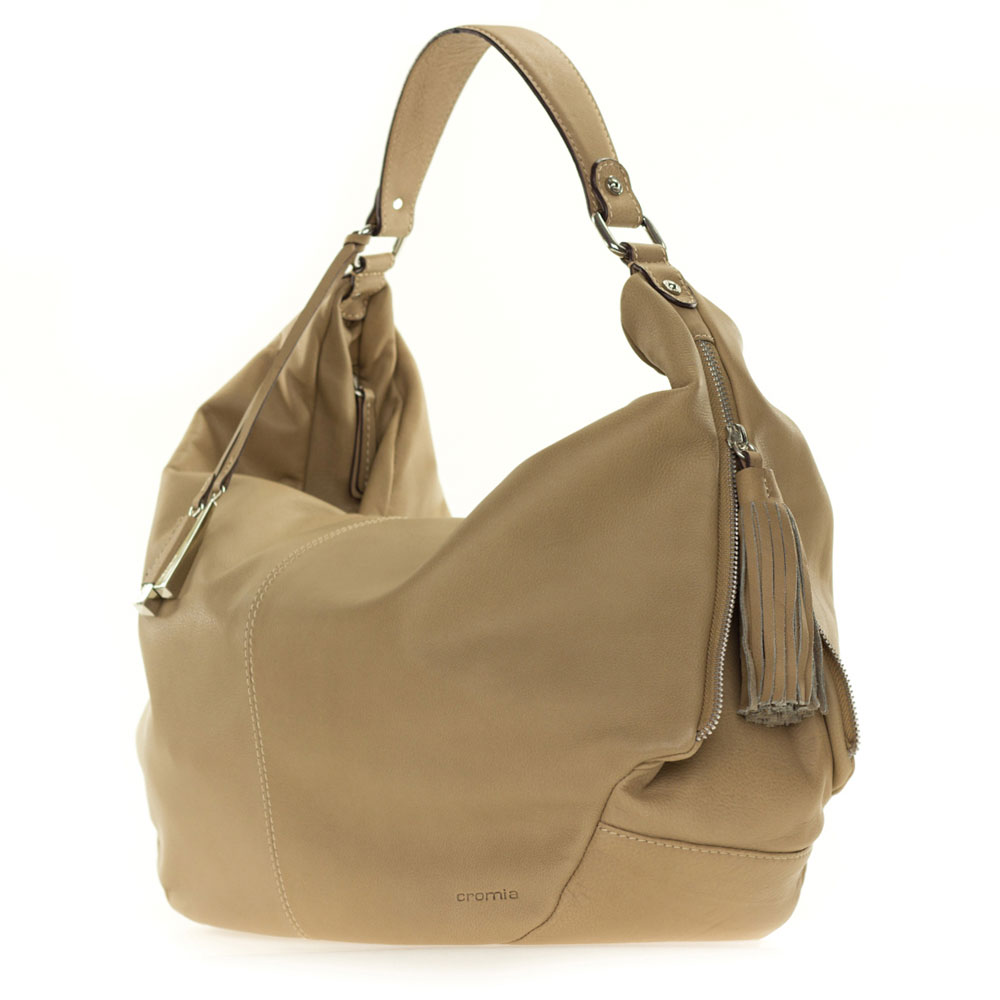 d0ede8792e Cromia Italian Made Beige Leather Large Slouchy Hobo Bag with Side Zippers