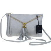 Laura Di Maggio Italian Made Gray Leather Crossbody Bag Wristlet