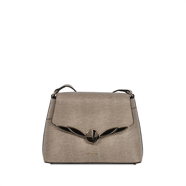Cromia Italian Made Taupe Lizard Embossed Calf Leather Crossbody Bag
