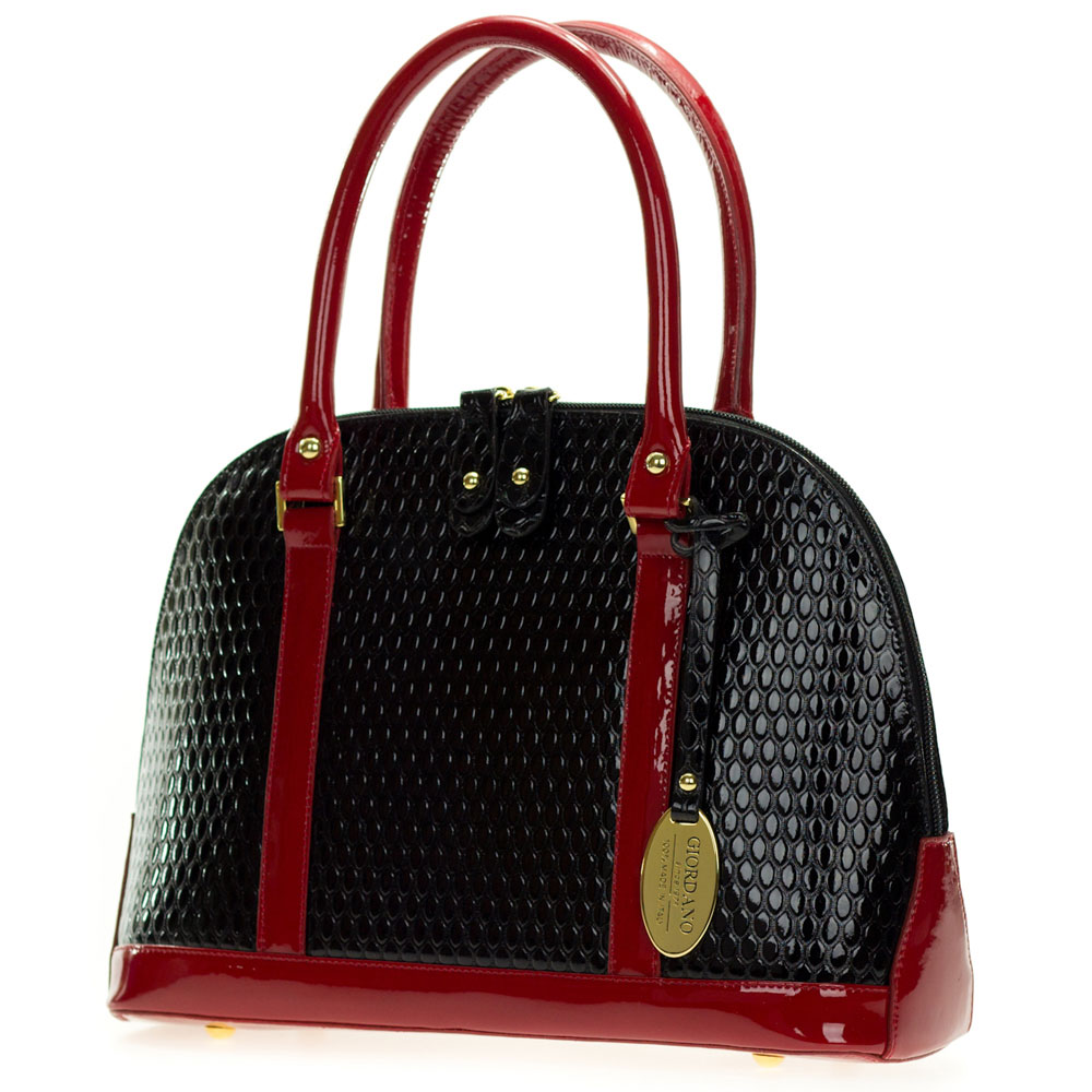 367c668f73 Black and Red Patent Embossed Leather Structured Tote Handbag Made in Italy  by Giordano