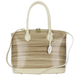 Giordano Italian Made Beige Stripe Glazed Leather Tote Handbag