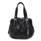 IO Pelle Italian Designer Black Patent Leather Satchel Handbag