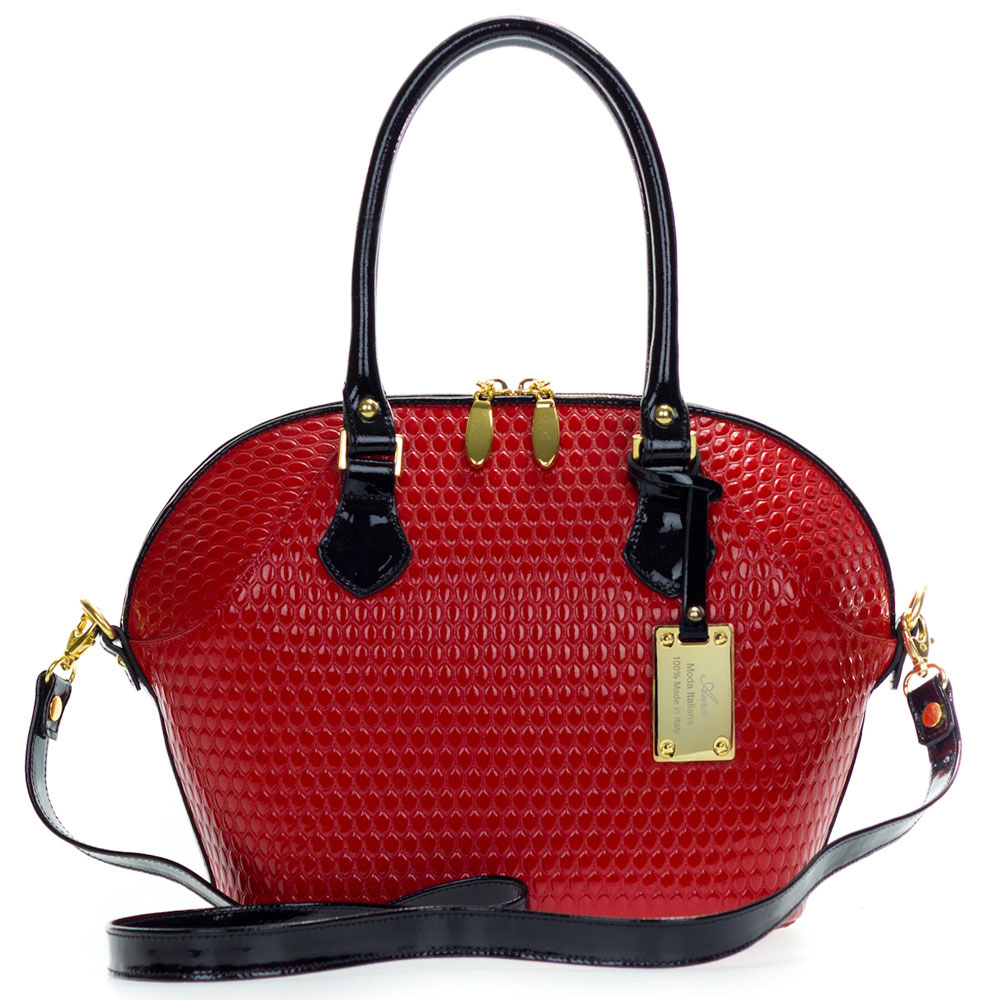 AURA Italian Made Tote Handbag in Red Patent Leather with Black Handles