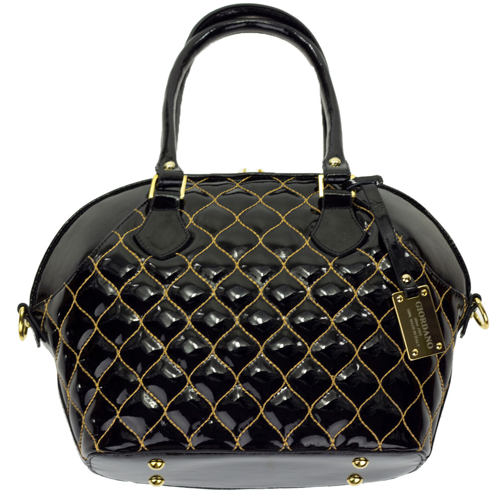 Giordano Italian Made Tote Handbag In Black Patent Quilted Leather With Gold Sching