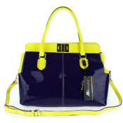 Purple & Yellow Patent Leather Large Structured Carryall by Asia Bellucci
