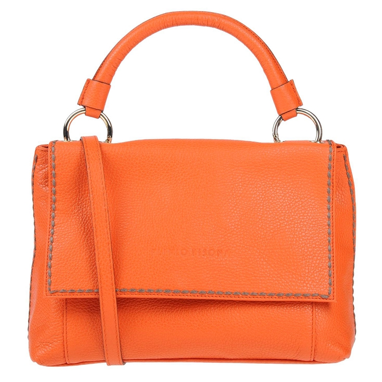 Plinio Visona Italian Made Orange Pebbled Leather Tote with Flap