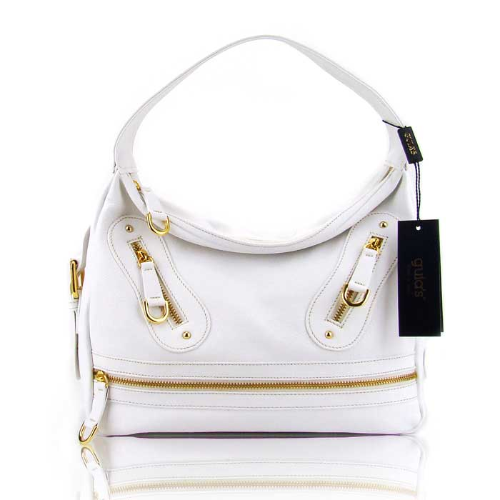 Guia'S Italian Made White Calf Leather Designer Handbag - Small Satchel