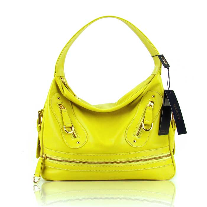 best selection of save up to 80% hot-selling real Guia'S Italian Made Yellow Calf Leather Designer Handbag - Small Satchel