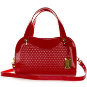 Giordano Italian Made Red Patent Embossed Leather Satchel Handbag