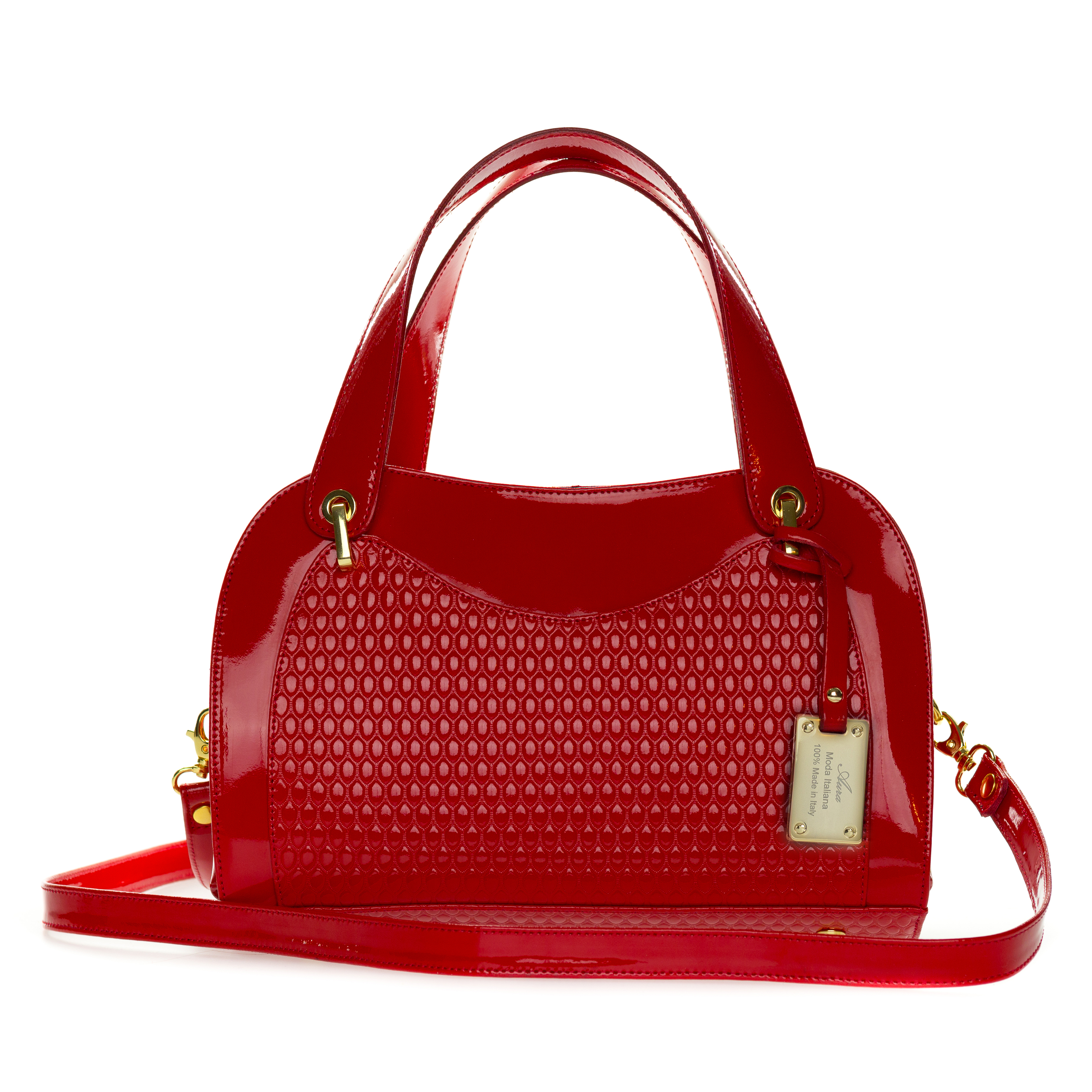 AURA Italian Made Red Patent Embossed Leather Satchel Handbag - /CLEARANCE/