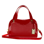 AURA Italian Made Red Patent Embossed Leather Satchel Handbag