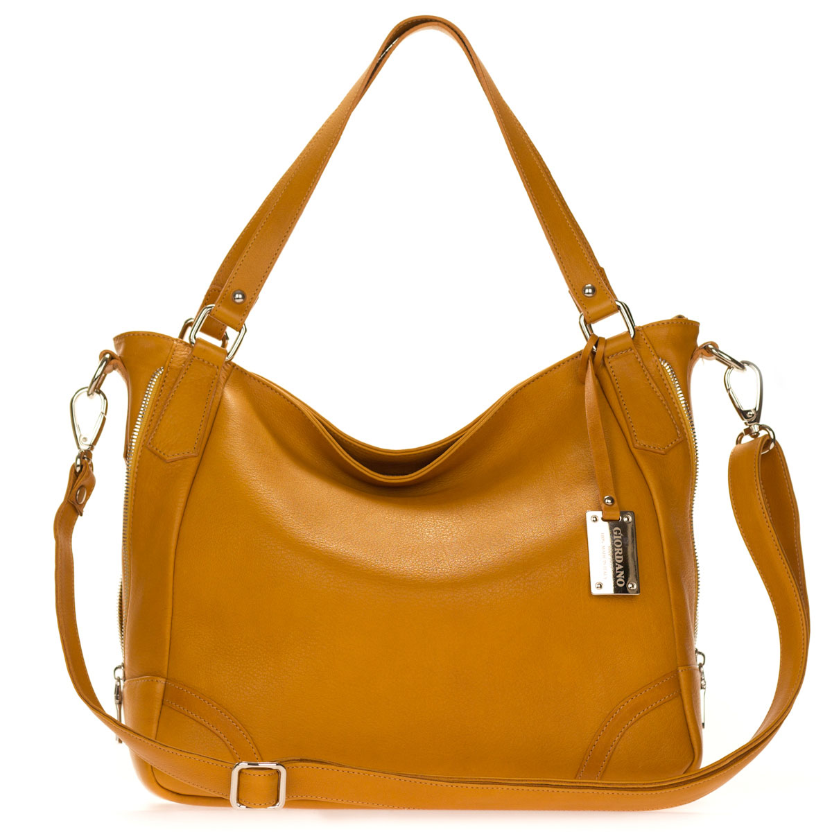 Giordano Italian Made Tan Leather Large Shopper Tote Handbag