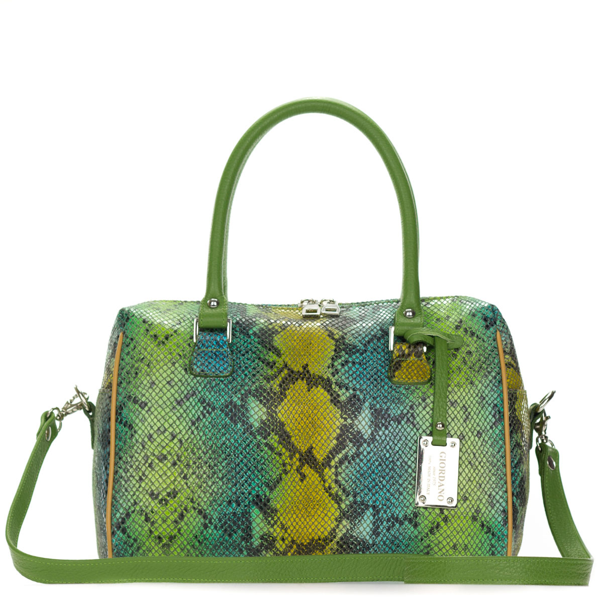 Giordano Italian Made Green Python Embossed Leather Structured Satchel Handbag