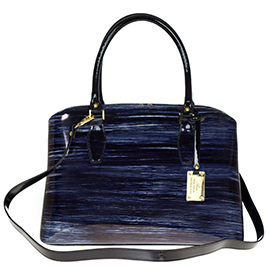 AURA Italian Made Dark Navy Blue Stripe Patent Leather Tote Handbag