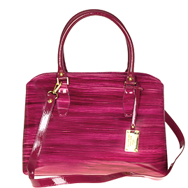 AURA Italian Made Red & Black Stripe Patent Leather Tote Handbag