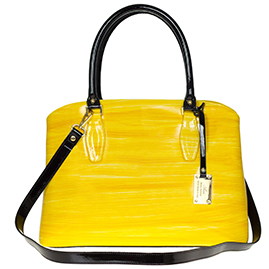 AURA Italian Made Yellow & Black Stripe Patent Leather Tote Handbag
