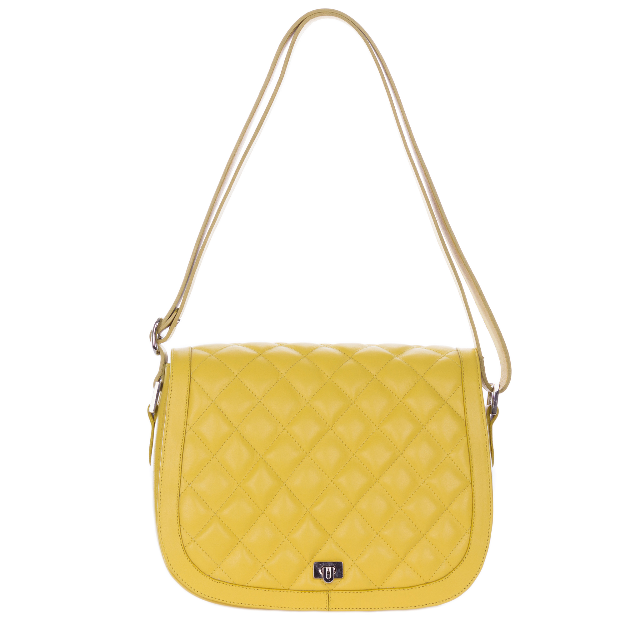 Giordano Italian Made Quilted Yellow Leather Messenger Shoulder Bag - / CLEARANCE /