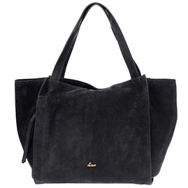 Nardelli Italian Made Black Suede Leather Large Carryall Tote