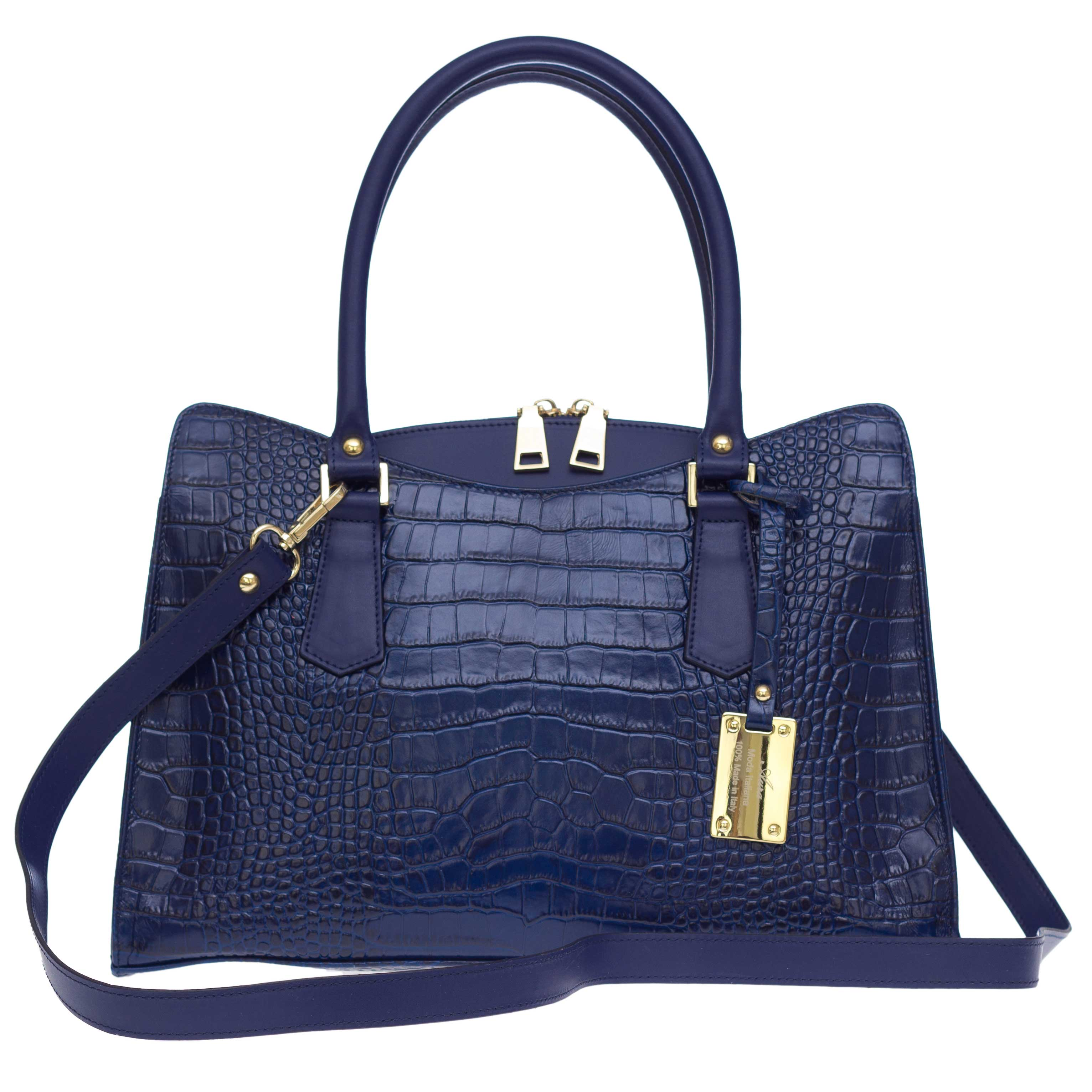 AURA Italian Made Blue Crocodile Embossed Leather Tote Handbag