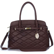 Giordano Italian Made Brown Quilted Leather Tote Handbag