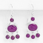 Genuine Purple Agate Solid 925 Sterling Silver Dangle Earrings 34.5Mm