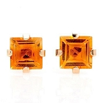 2/0.54Ctw Princess Cut Yellow Citrine 10K Yellow Gold Stud Earrings
