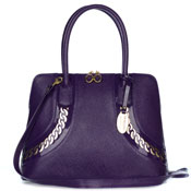 Giordano Italian Made Purple Textured Leather Tote Handbag with Gold Chain Detail
