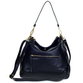 Giordano Italian Made Black Leather Hobo Bag with Pocket