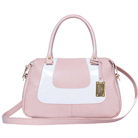 AURA Italian Made Dusty Pink & White Patent Leather Small Tote