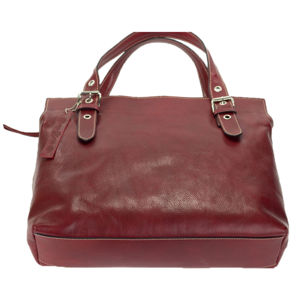 Red Organically Treated Leather Large Tote Handbag Made In Italy By Robe Di Firenze