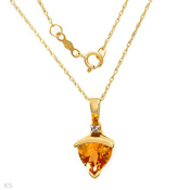 1.52Ctw Genuine Yellow Citrine 10K Yellow Gold 18