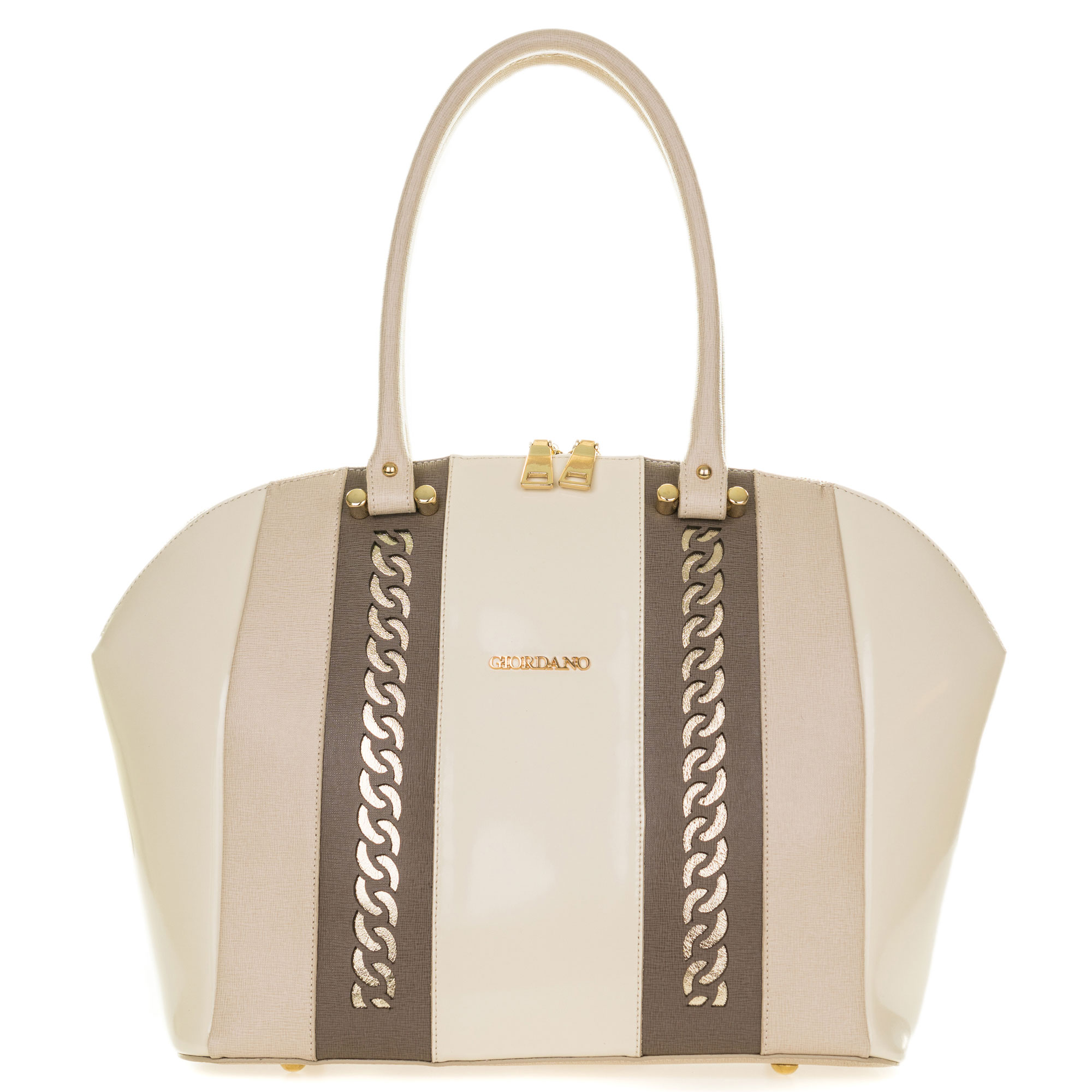Giordano Italian Made Light Beige Leather Large Tote Handbag with Gold Chain Details - / CLEARANCE /