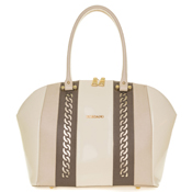 Giordano Italian Made Light Beige Leather Large Tote Handbag with Gold Chain Details