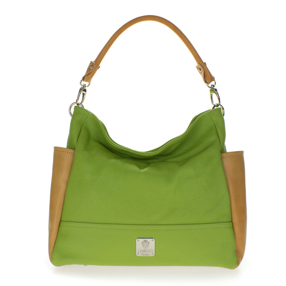 Medichi Italian Made Pebbled Leather Hobo Bag - Apple Green & Beige - / CLEARANCE /