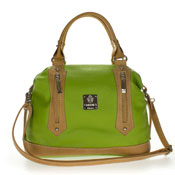 Medichi Italian Made Green and Beige Leather Convertible Satchel Handbag Crossbody Bag - / CLEARANCE /