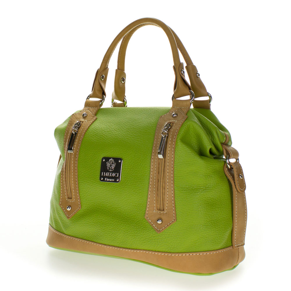 Medichi Italian Made Green and Beige Leather Convertible Satchel ... 1555df7858a40