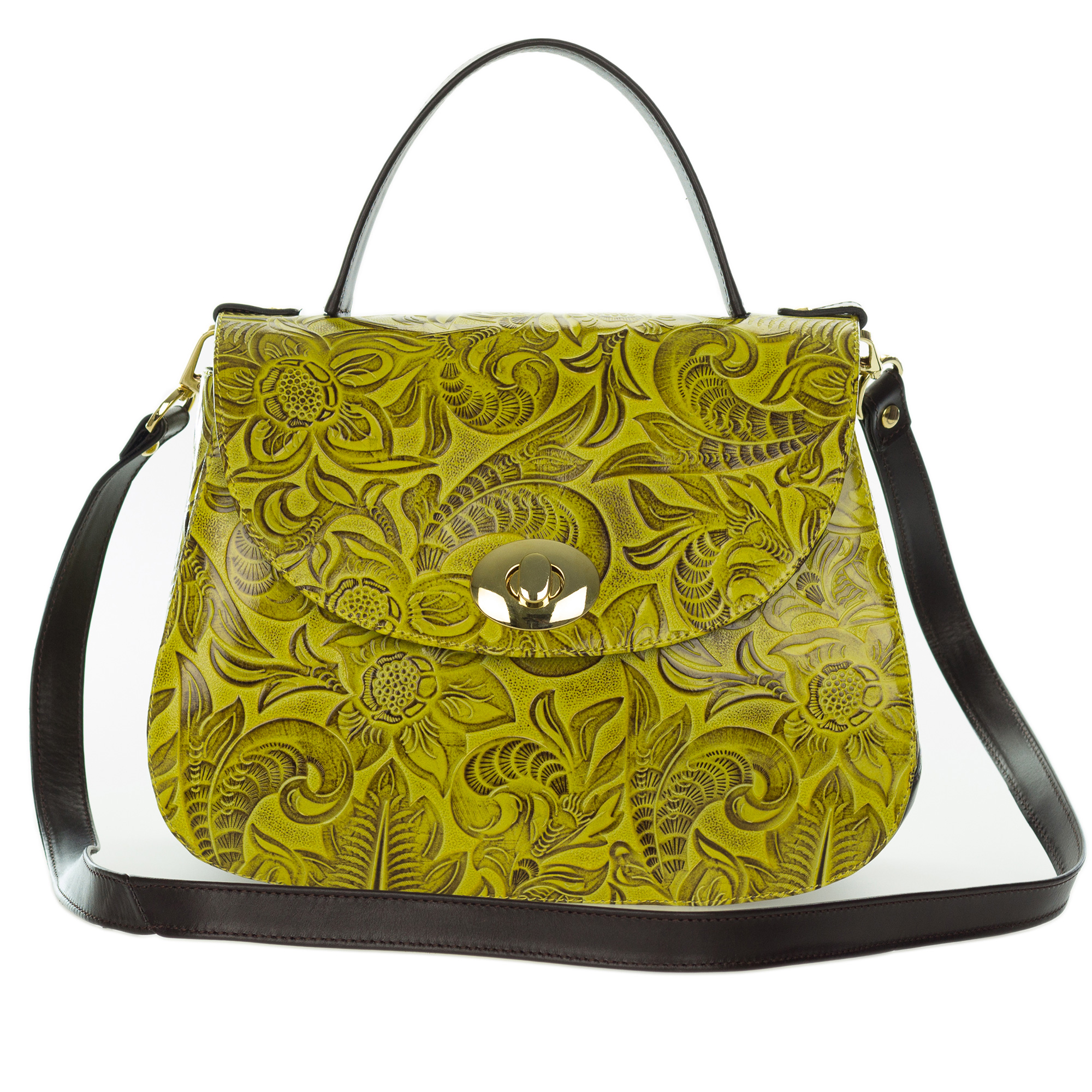 Giordano Italian Made Yellow Floral Embossed Leather Handbag