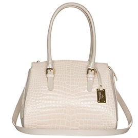 AURA Italian Made Cream Croc Embossed Leather Large Tote