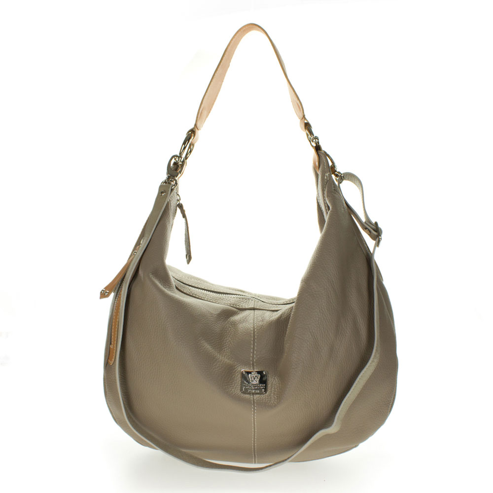 Medichi Italian Made Taupe Pebbled Leather Large Shoulder Hobo Bag