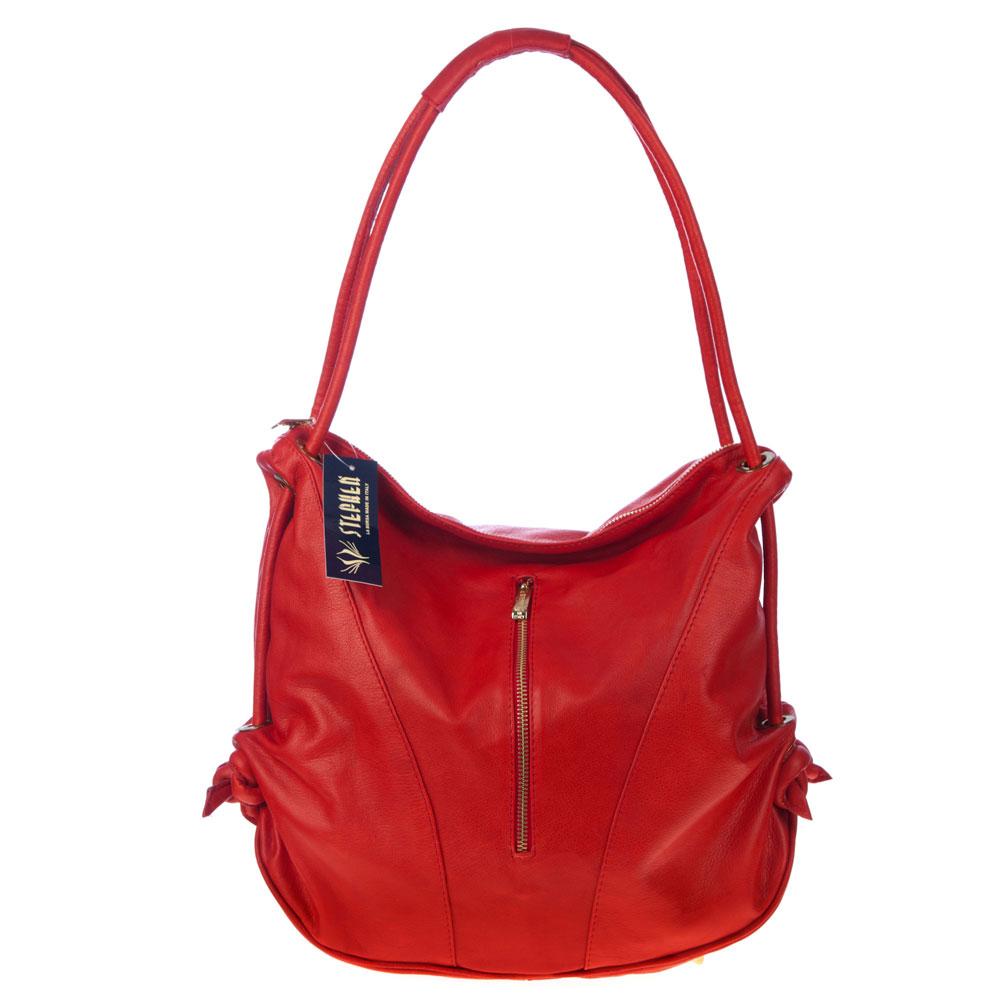 Stephen Italian Made Red Leather Top Handle Designer Handbag