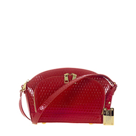 AURA Italian Made Red Patent Embossed Leather Small Crossbody Bag